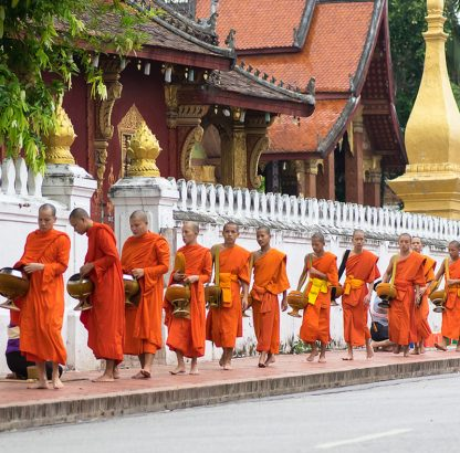 The Alms Giving Ceremony in Laos